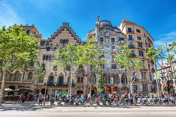 Illa de la Discordia. Facade Casa Batllo, Lleo Morera, Rocamora Barcelona, Spain - APRIL 18, 2016: Illa de la Discordia. Facade Casa Batllo, Lleo Morera, Rocamora, Amatller in district of incompliance. Passeig de Gracia Located in the Eixample district. modernism architecture qaurter of disagreement gracia baur stock pictures, royalty-free photos & images