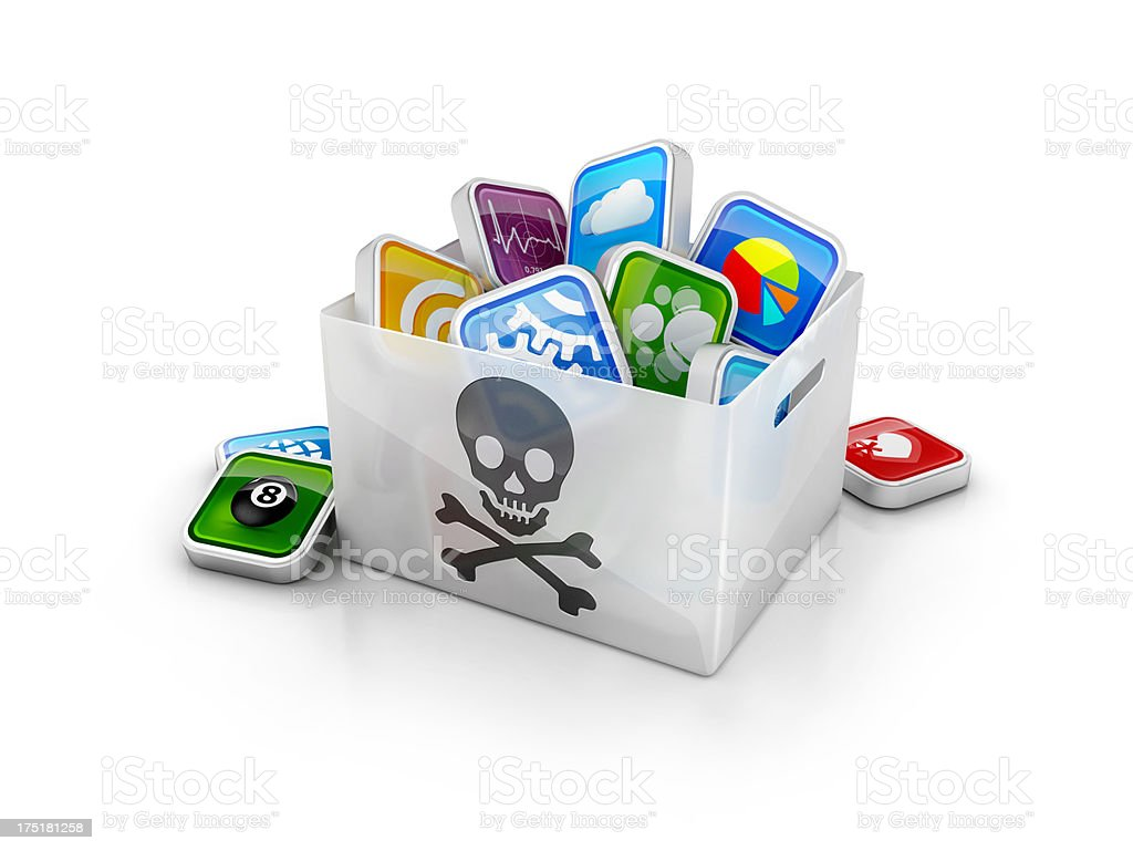 illegal apps dowload or stolen hacked software stock photo