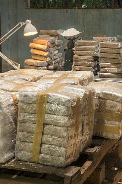 Illegal cocaine warehouse Many tons of illegal drug are kept hidden as in this warehouse in Latin America cocaine stock pictures, royalty-free photos & images