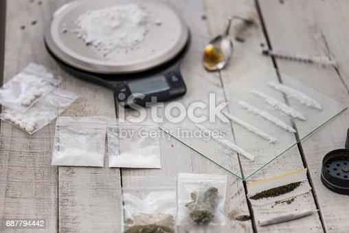 Table of illegal, addictive drugs including cocaine, heroin, marijuana, ecstasy.