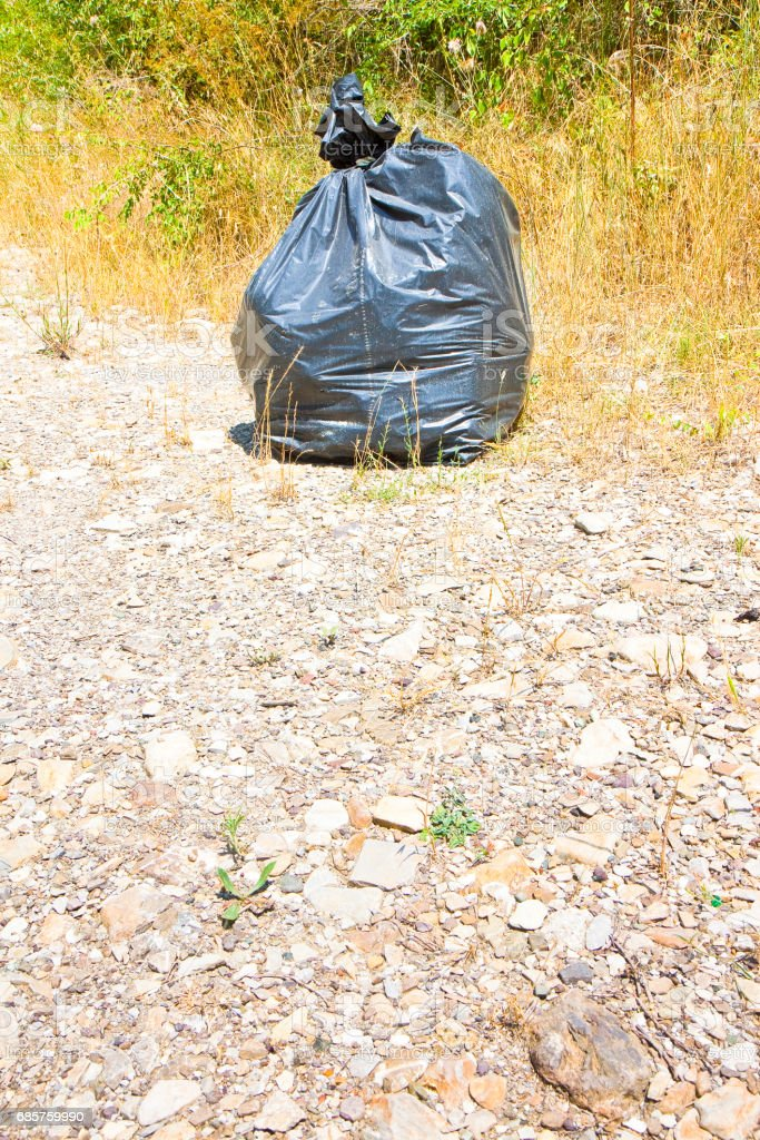Illegal dumping in the nature; garbage bags left in the nature - image with copy space foto stock royalty-free