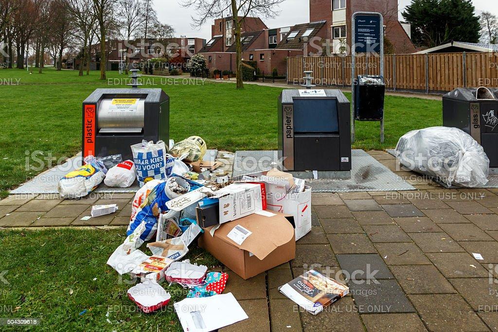 Illegal dumping of waste stock photo