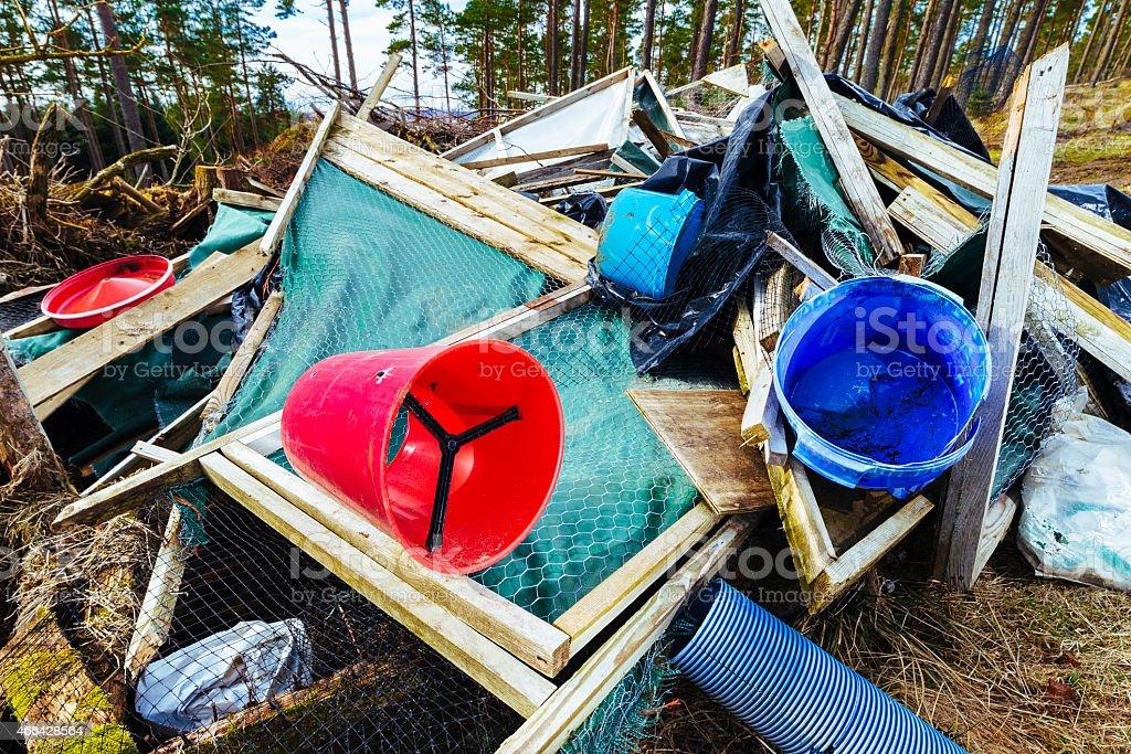 Illegal garbage dumping stock photo
