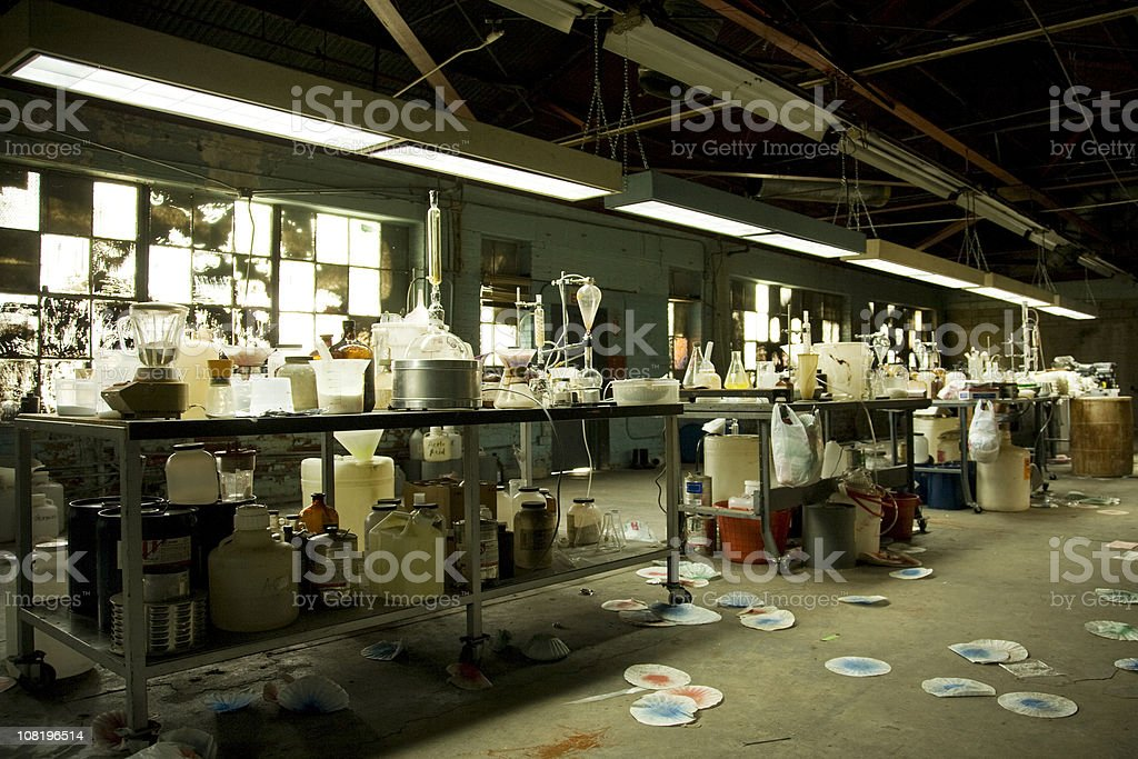 Illegal Meth Lab With Equipment Everywhere stock photo