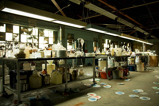 illegal meth lab with equipment everywhere - narcotic stock pictures, royalty-free photos & images