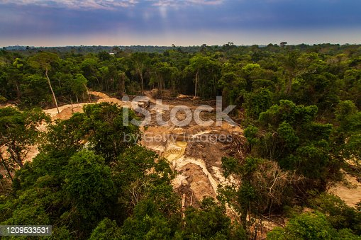 Illegal mining causes deforestation and river pollution in the Amazon rainforest near Menkragnoti Indigenous Land. - Pará, Brazil