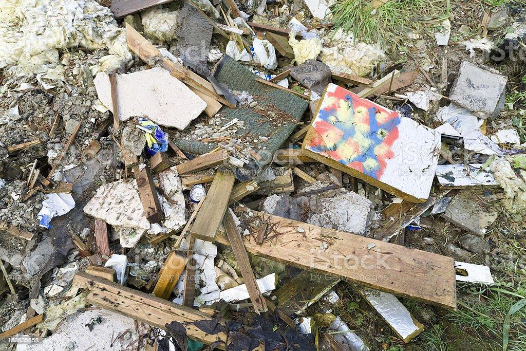 Illegal rubbish dump stock photo