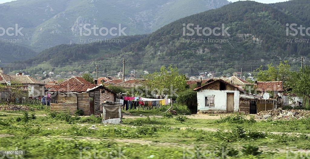 Illegal settlement of ethnic Gypsies Romani population royalty-free stock photo