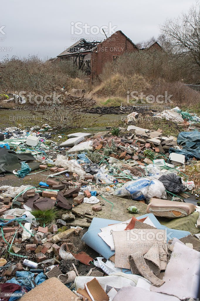 illegal tipping on a derelict site in Wolverhampton stock photo