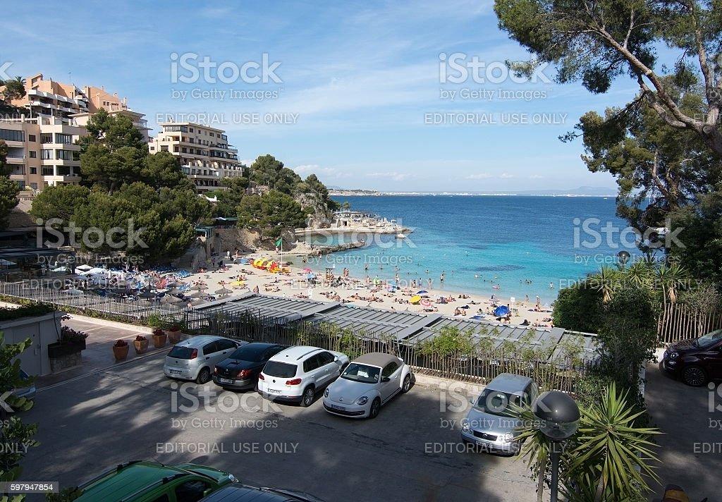 Illetas beach and parking stock photo