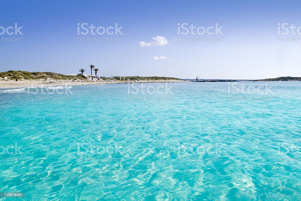 Illetas illetes turquoise beach shore Formentera stock photo