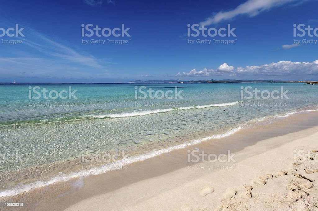 Illetes beach in Formentera island, Mediterranean sea, Spain stock photo