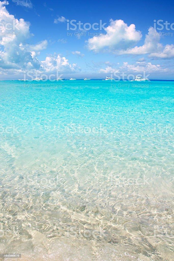 Illetes Formentera East beach tropical turquoise stock photo