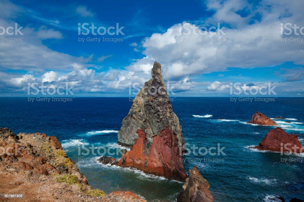 illheus da rib rock formations on the cliff coast of ribeira da janela, madeira, portugal stock photo
