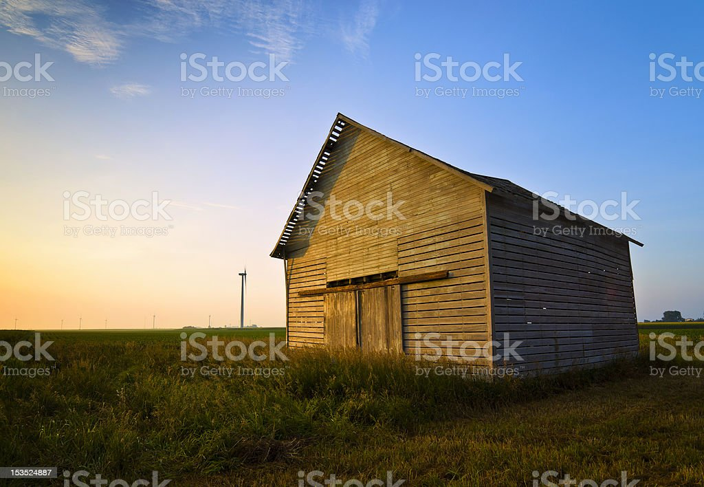 Illinois barn and windmills royalty-free stock photo