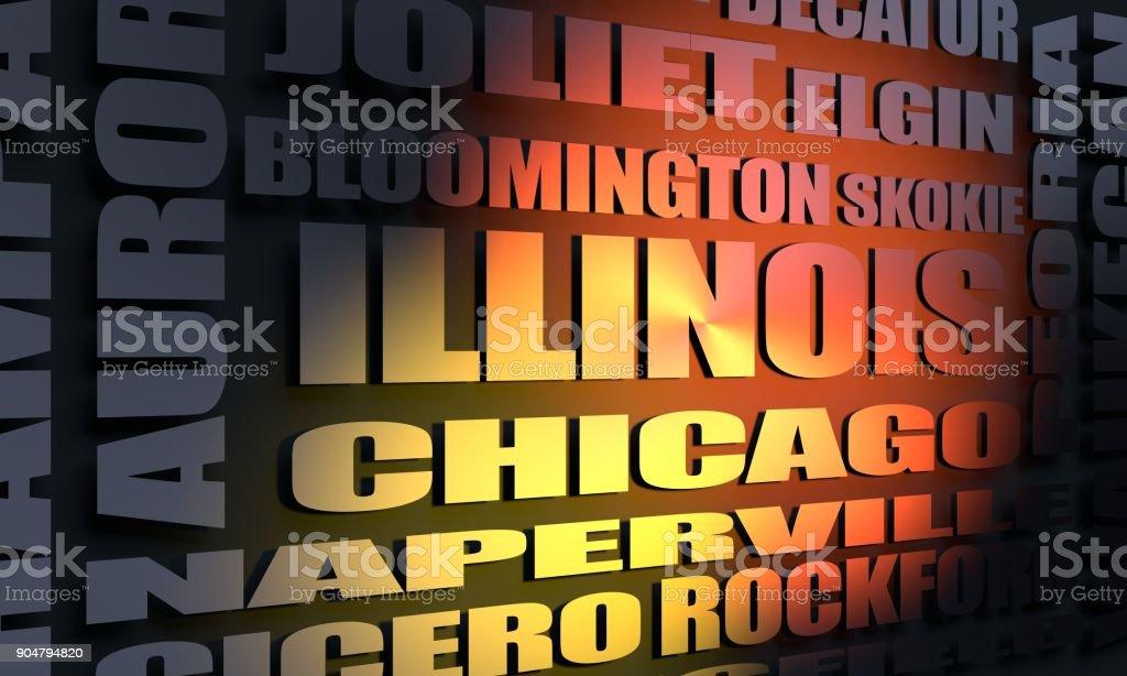 Illinois cities list stock photo