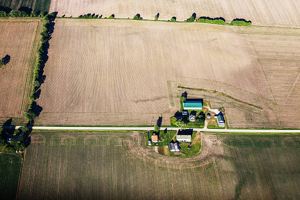 Illinois Farms and Farmland. Aerial View stock photo
