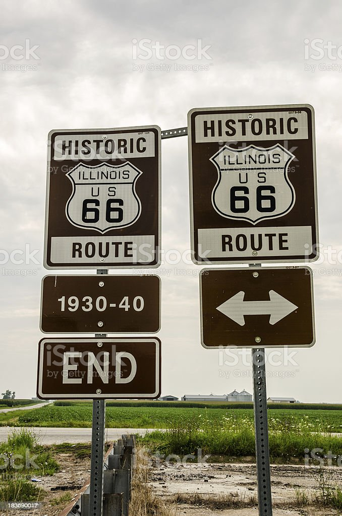 Illinois Route 66 Signs royalty-free stock photo