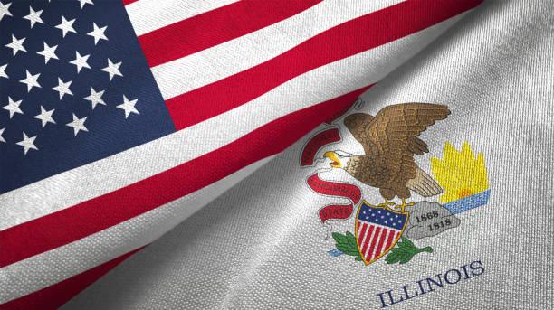 estado de illinois y estados unidos dos banderas juntos relaciones textil tela tela textura - illinois fotografías e imágenes de stock