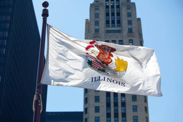 Illinois State Flag stock photo