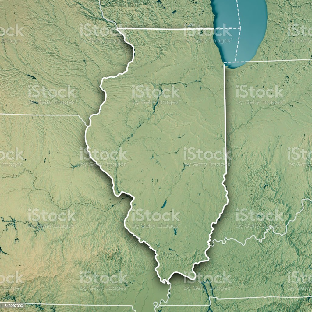 Illinois State USA 3D Render Topographic Map Border stock photo