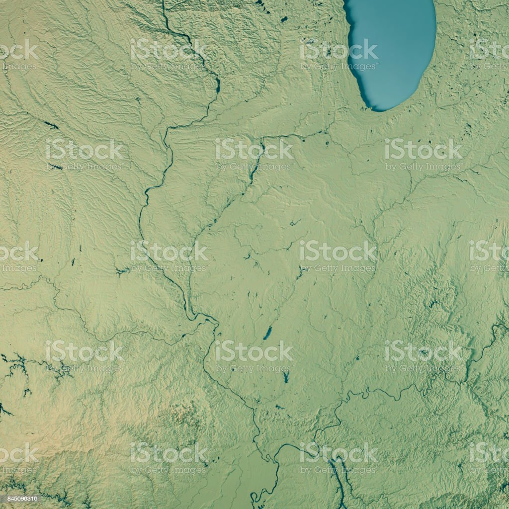 Illinois State USA 3D Render Topographic Map stock photo