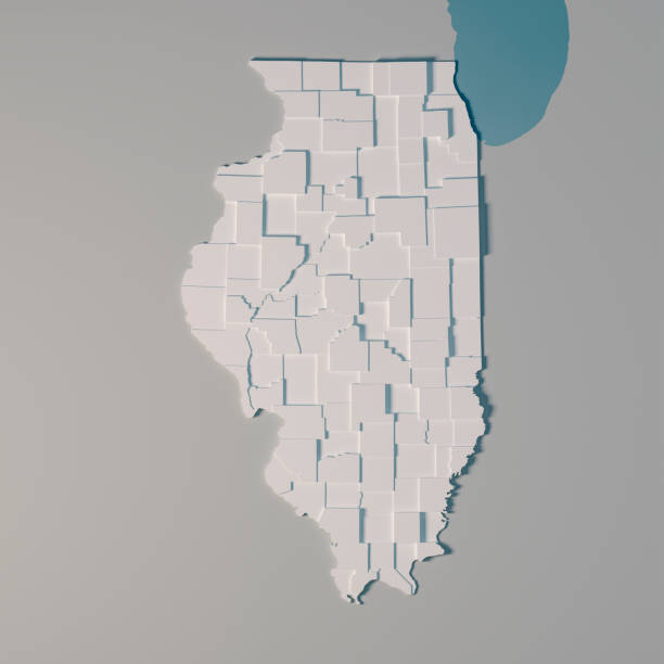Illinois US State Map Administrative Divisions Counties 3D Render – Foto