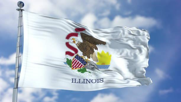 bandera que agita de illinois - illinois fotografías e imágenes de stock