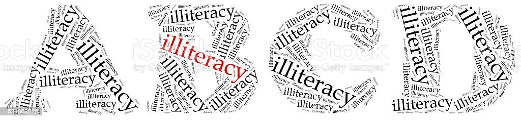 Illiteracy problem concept. Word cloud illustration. stock photo