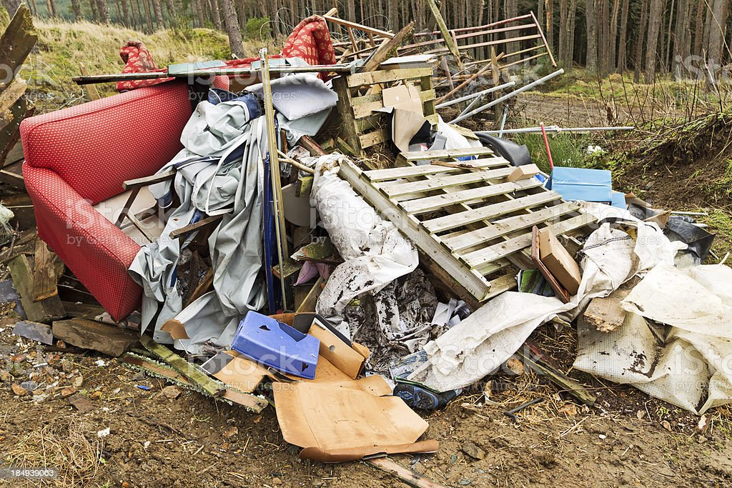 Illlegal fly tipping stock photo