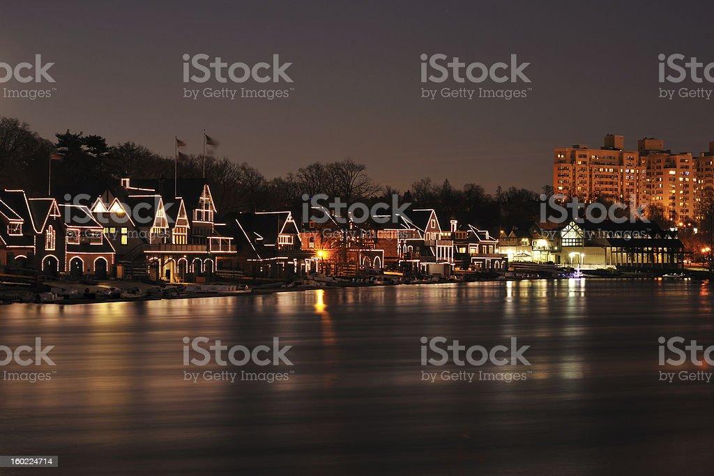 Illumianted Boathouse Row with Reflection in Philadelphia stock photo