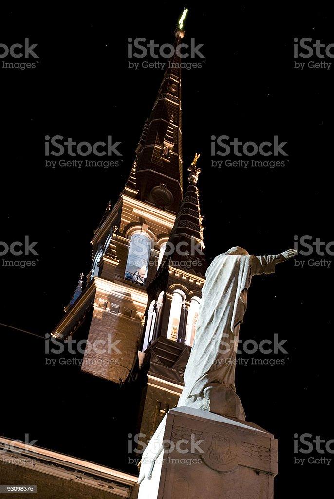 illuminate cathedral steeple at night royalty-free stock photo