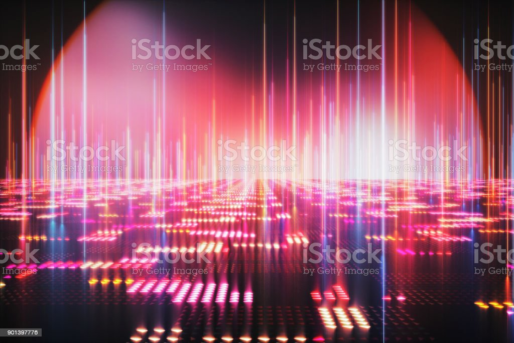 Illuminated abstract computer landscape stock photo