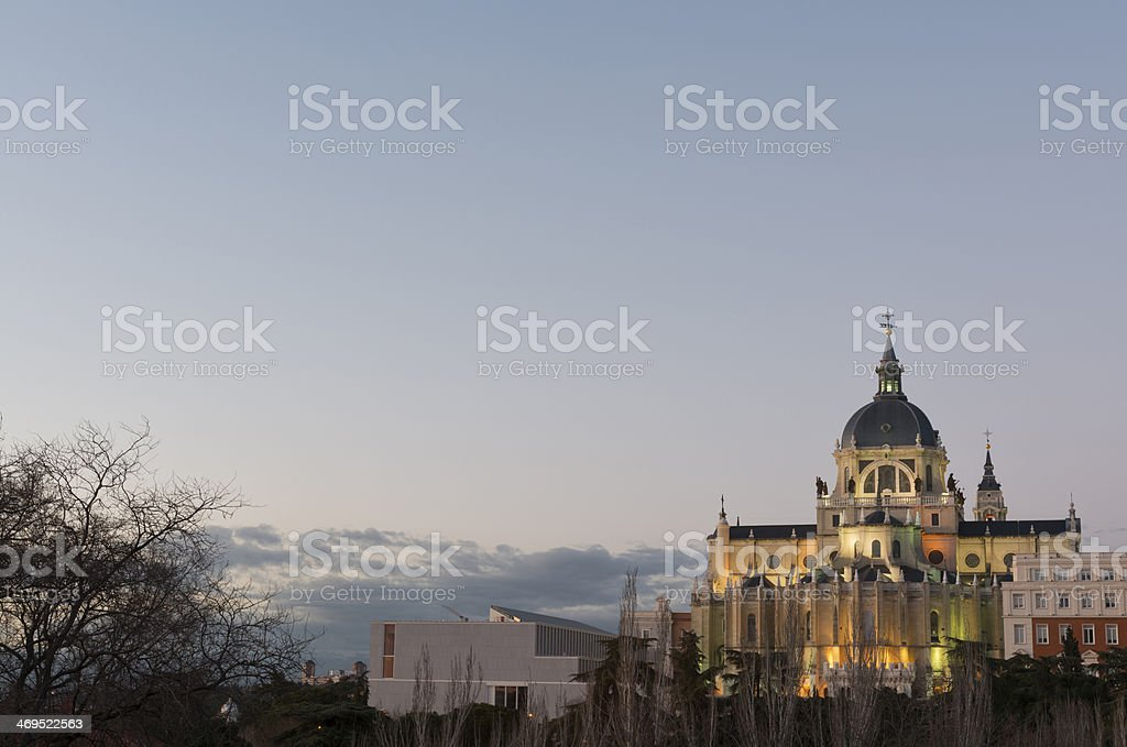 Illuminated Almudena Cathedral in Madrid royalty-free stock photo