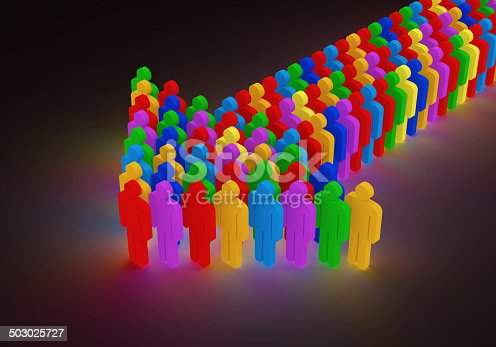 688200936 istock photo Illuminated Arrow made from Colorful People 503025727