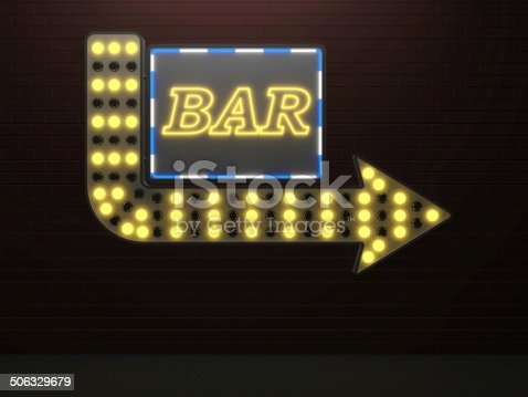 istock illuminated arrow sign bar and light bulbs surround 506329679