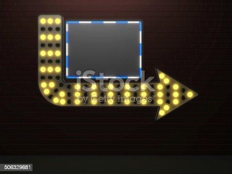 istock illuminated arrow sign bar and light bulbs surround 506329681