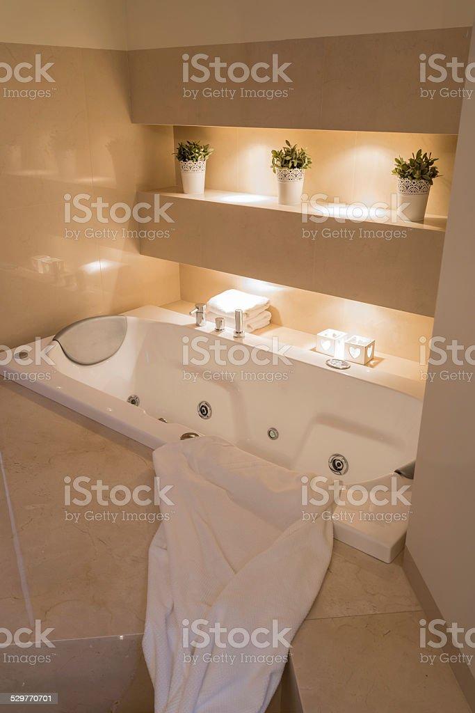 Illuminated bathroom interior stock photo