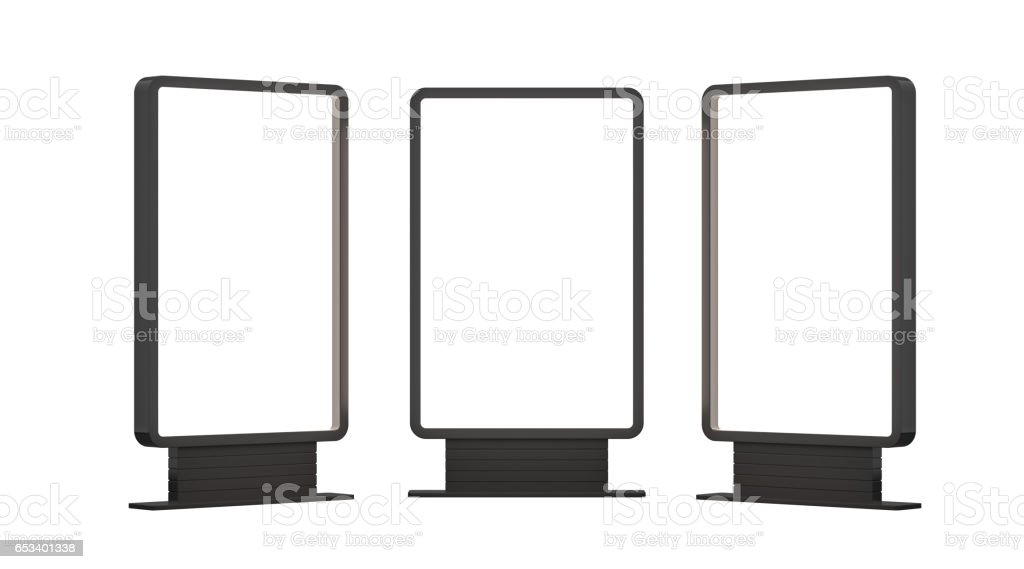 Illuminated blank billboards stock photo