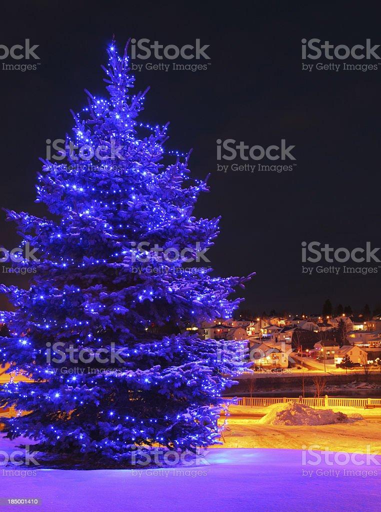 Illuminated Blue Christmas Tree in Small Town stock photo