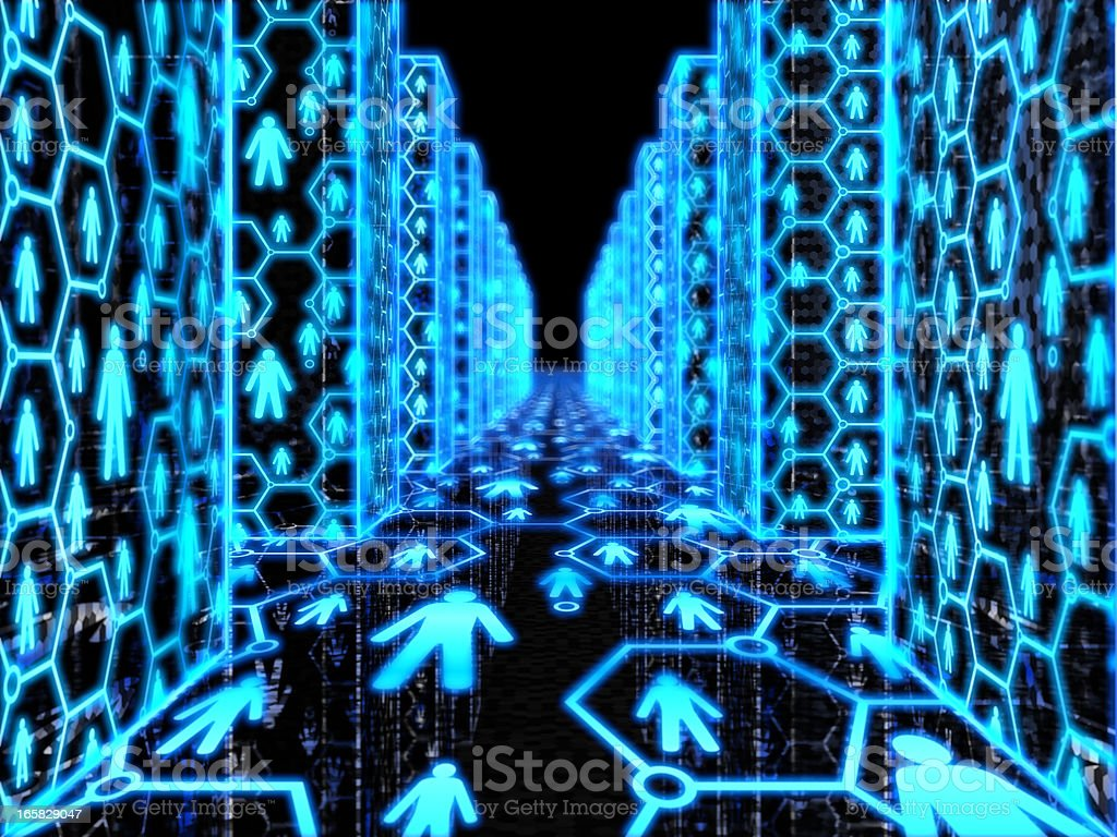 Illuminated blue people symbols in a dark hallway royalty-free stock photo