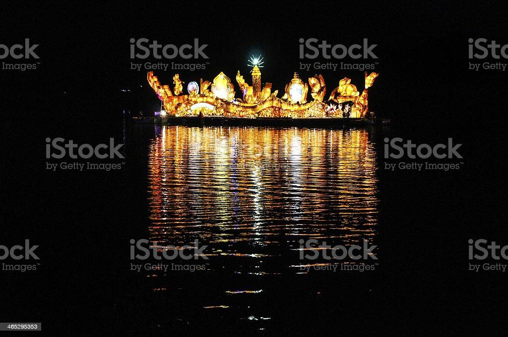 Illuminated boat festival in Isan stock photo