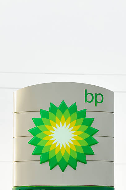 Illuminated bp sign stock photo