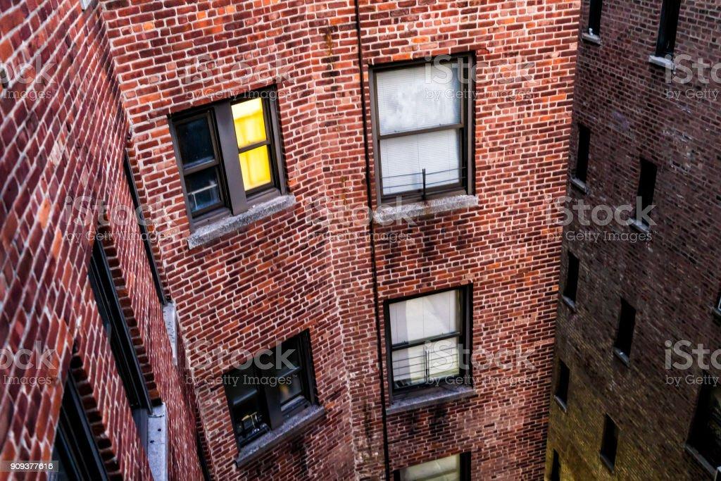 Illuminated Brick Apartment Condo Building Architecture In Fordham ...