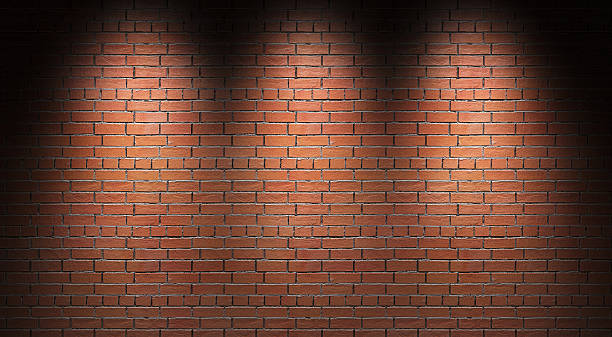 Illuminated brick wall. 3d render. stock photo