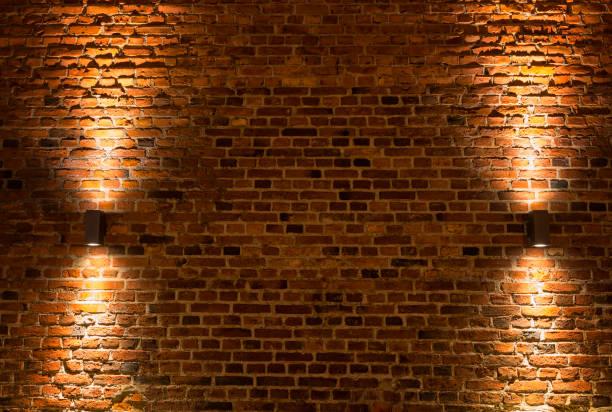 Illuminated Brick wall stock photo