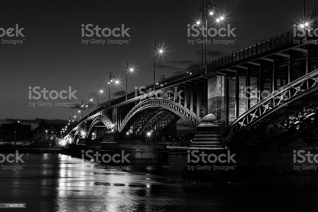 Illuminated bridge at night royalty-free stock photo