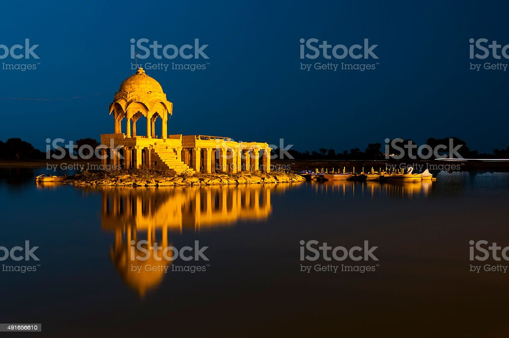 Illuminated building at Gadsisar Lake, Jaisalmer, Rajastan, India stock photo