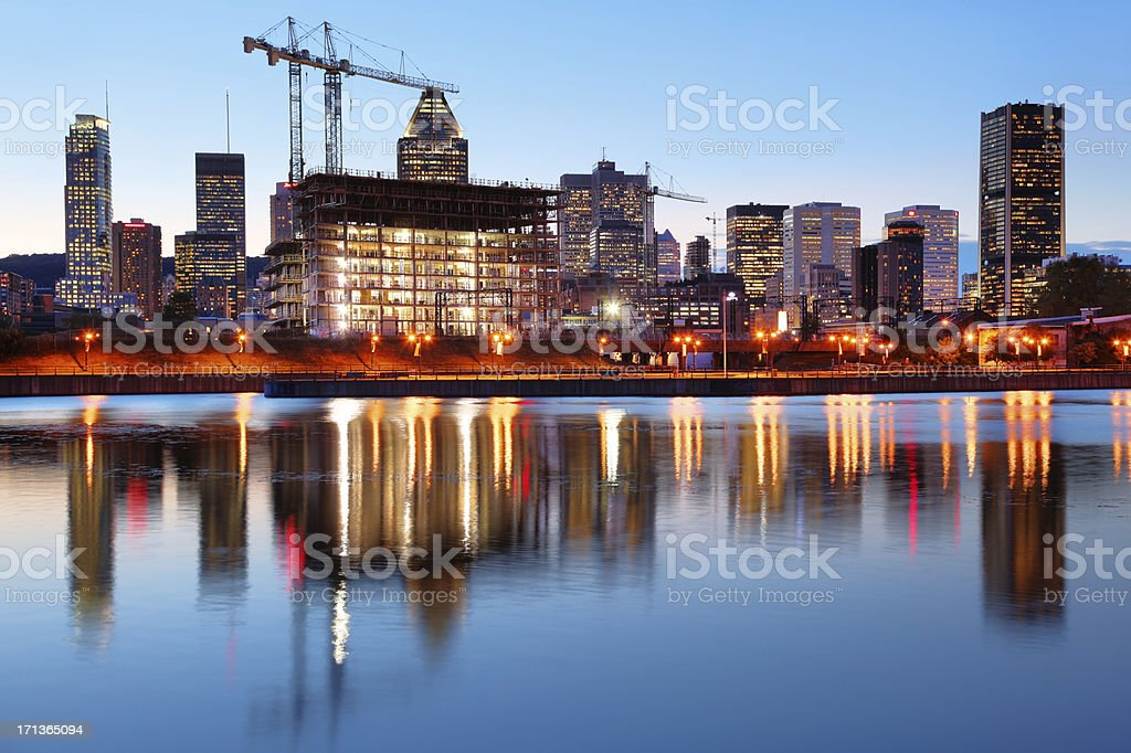 Illuminated Building Construction in Montreal stock photo