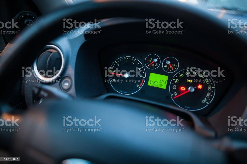 Illuminated car dashboard stock photo